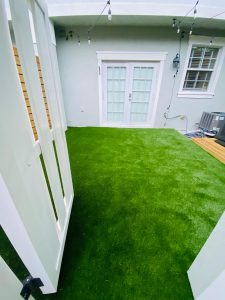 Synthetic grass installed in the backyard of a Boca Raton home