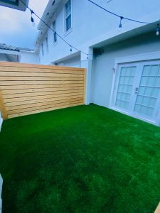 Turf installed in the backyard of a Tampa home