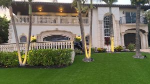 Artificial grass installed in the front yard of a Miramar home