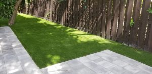 Artificial grass in the backyard of a Fort Lauderdale home