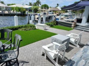Artificial grass installed in a Fort Lauderdale backyard overseeing the intracoastal